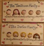5 CHARACTER FACES FAMILY SIGN WOODEN PLAQUE SHABBY CHIC HANDMADE TO ORDER  PERSONALISED